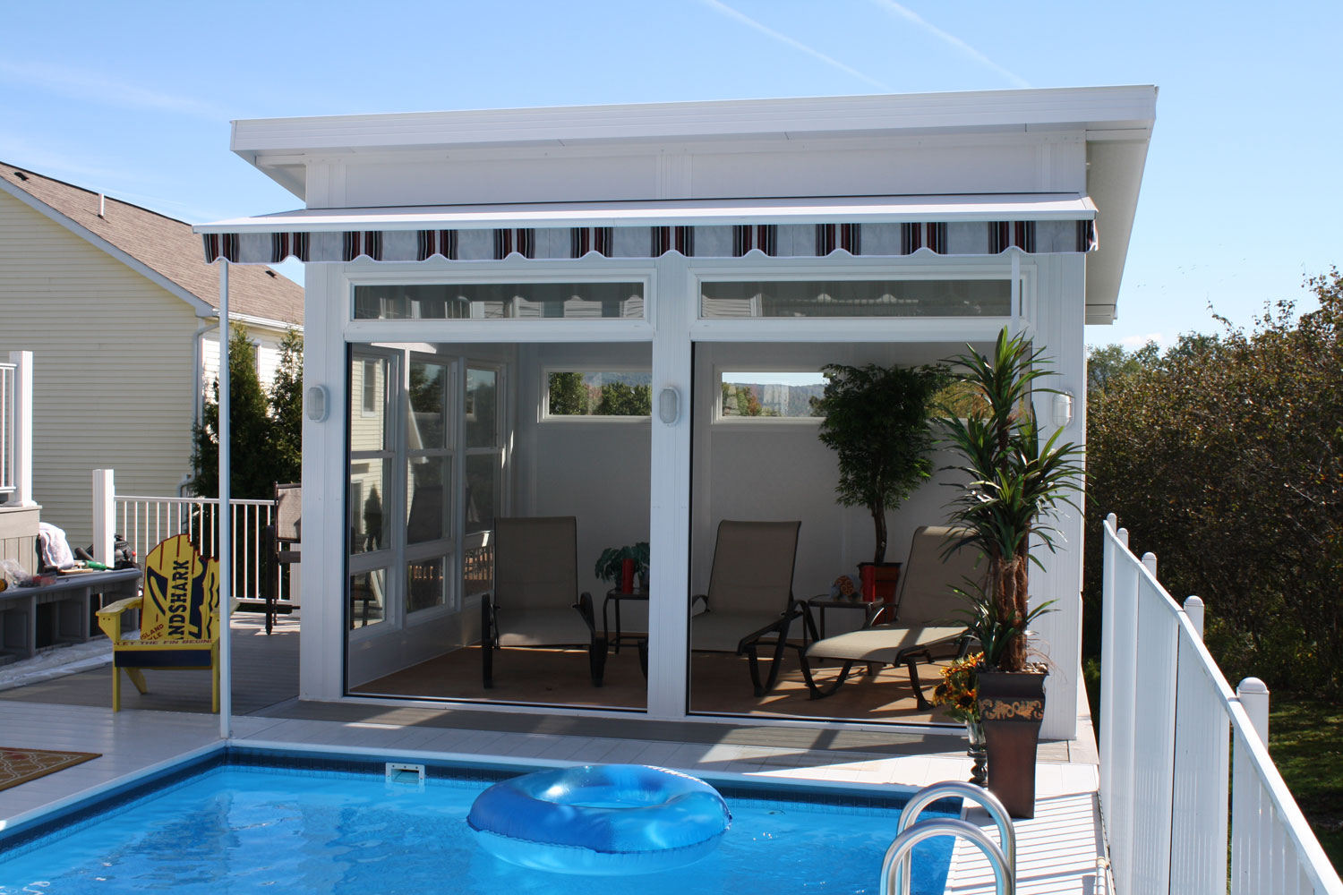 Three season cabana deluxe screen cabana pool house cabana for Pool houses and cabanas